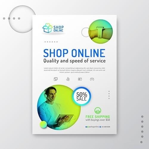 Gradient Online Shopping Flyer vector