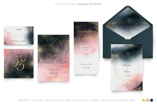Gradient color background wedding invitation vector