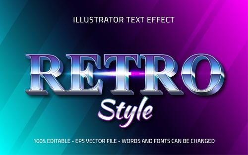 Gradient editable font effect text vector