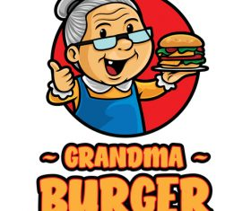 Grandma burger icon vector
