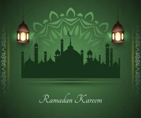 Green background ramadan festival card vector