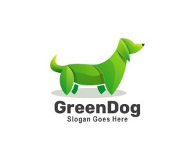 Green dog icon vector