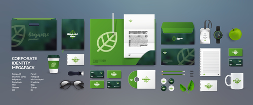 Green leaf corporate branding identity template vector