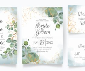 Green leaf frame wedding invitation card vector
