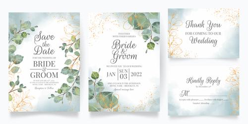 Green leaf frame wedding invitation card vector