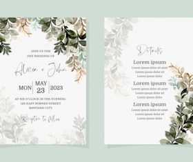 Green leaf watercolor wedding invitation banner vector