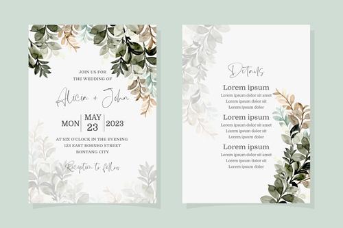 Green leaf watercolor wedding invitation banner vector