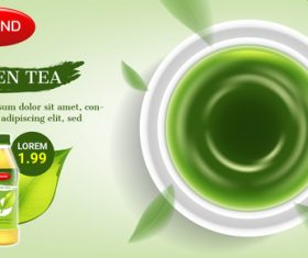 Green tea advertising brand design vector