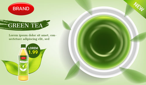 Green tea advertising brand design vector
