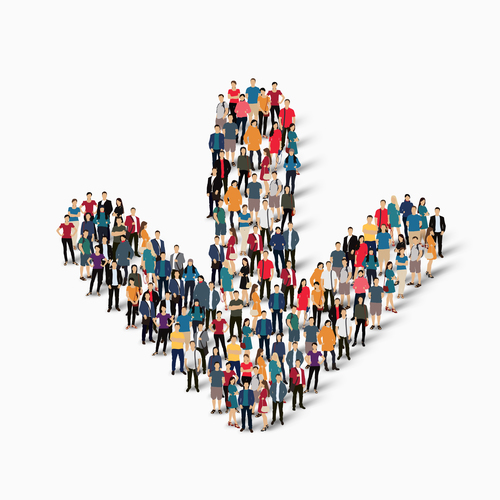 Group of people combined into a downward arrow pattern vector