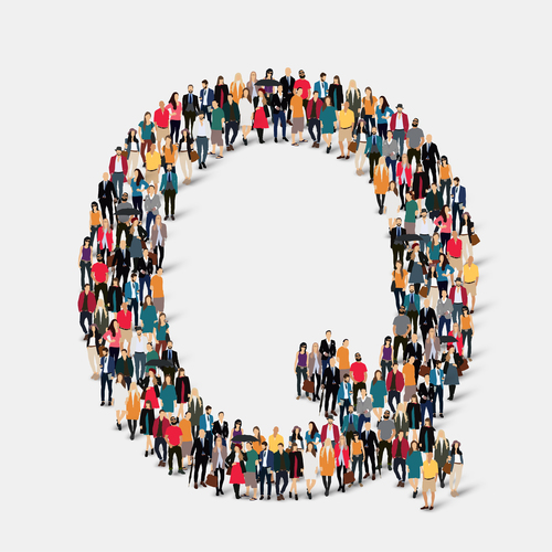 Group of people grouped into Q vector