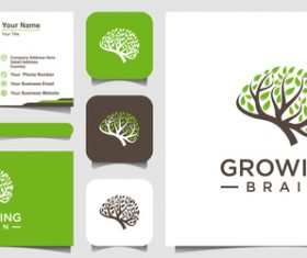 Growing brain logo and business card design