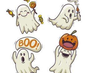 Halloween cartoon ghost drawn illustrations vector