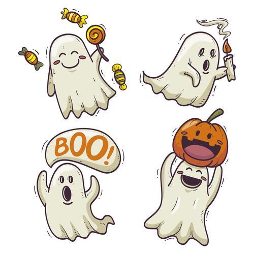 Halloween cartoon ghost drawn illustrations vector