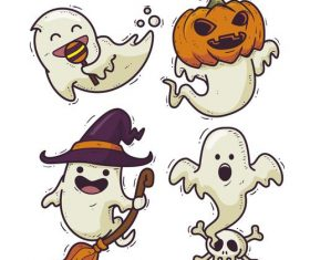 Halloween ghost drawn illustrations vector