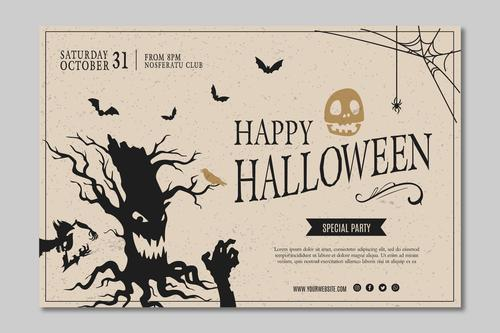 Halloween party squared flyer template vector