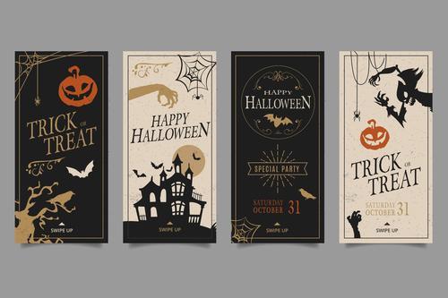 Halloween party various flyer vector