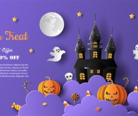 Halloween shopping background vector