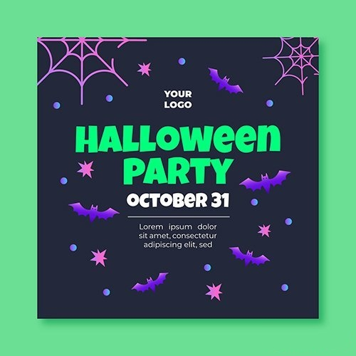 Halloween squared flyer template vector