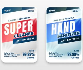 Hand sanitizer label vector