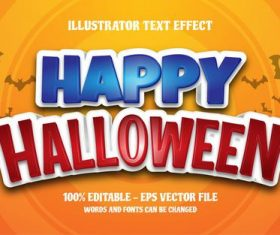 Happy Halloween editable font effect text vector