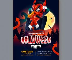 Happy Halloween party realistic card vector