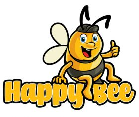 Happy bee vector icon