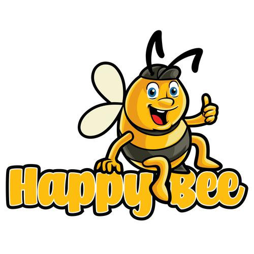 Happy bee vector icon