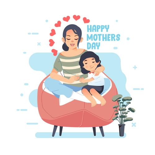Happy childhood cartoon illustration vector