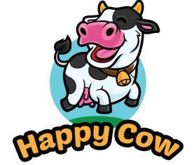 Happy cow vector icon