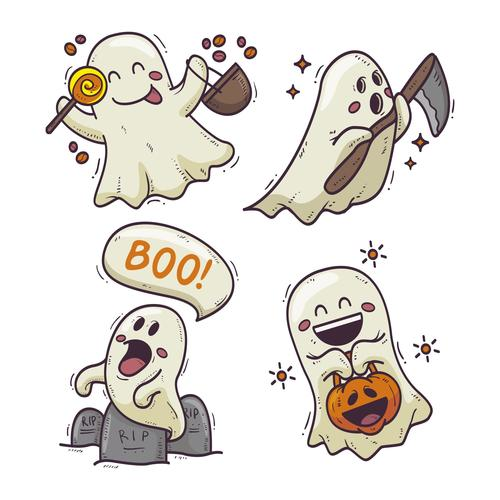 Happy halloween cartoon ghost drawn illustrations vector