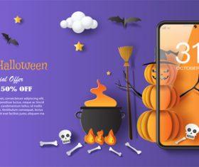 Happy halloween mobile phone background vector