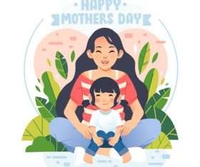 Happy mothers bay cartoon illustration vector