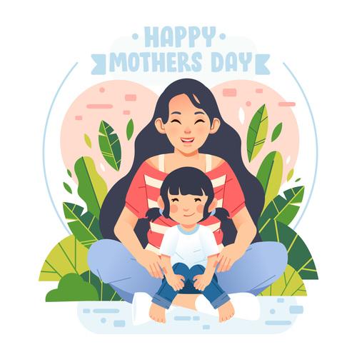 Happy mothers bay cartoon illustration vector