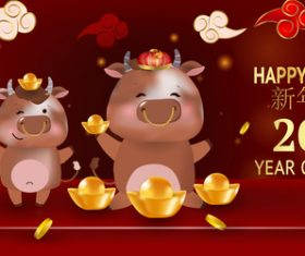 Happy ox year 2021 vector