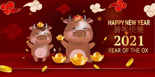 Happy ox year 2021 vector