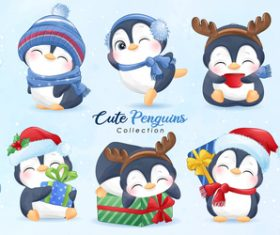 Happy penguin watercolor illustration vector