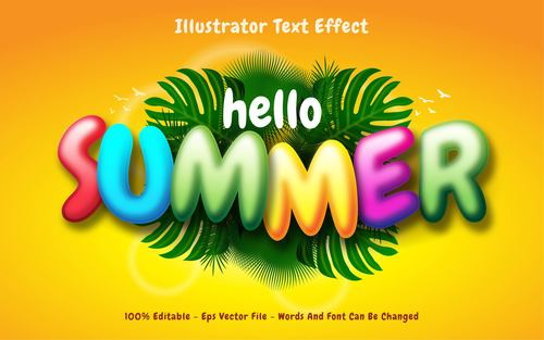 Happy summer editable font effect text vector