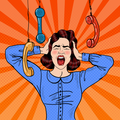Harassment call pop art illustration vector