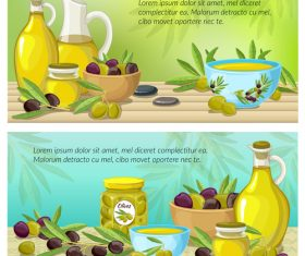 Healthy food olive oil banner vector