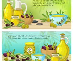 Healthy food olive oil banner vector