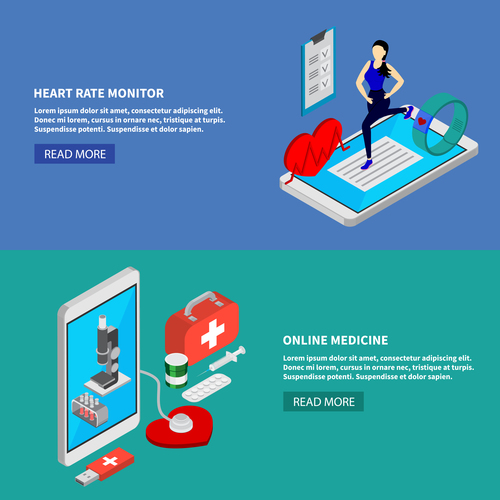 Heart rate monitor isometric vector illustration
