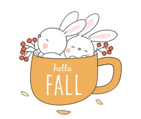 Hello fall cartoon illustrations vector