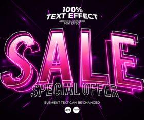 Highlight the editable font effect text vector