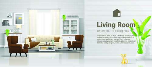 Home interior vector template