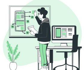 Home office cartoon background vector