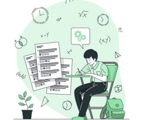 Homework cartoon background vector
