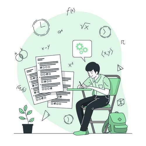 Homework cartoon background vector