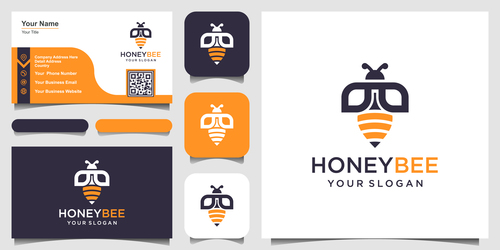 Honey bee logo and business card design