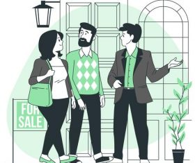 House buying cartoon background vector